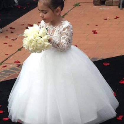 White Ball Gown Flower Girl Dresses..