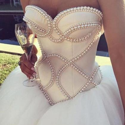 Pearl Beaded Corset Sweetheart Wedd..