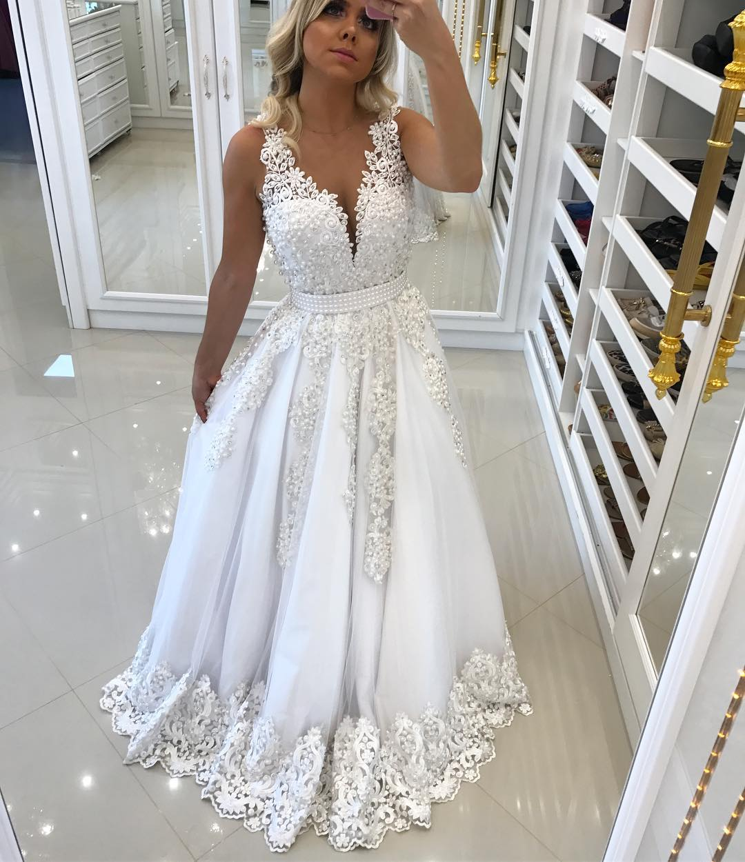 Illusion Back White Pearls Appliques V Neck Formal Dresses ,Sleeveless Wedding Gowns