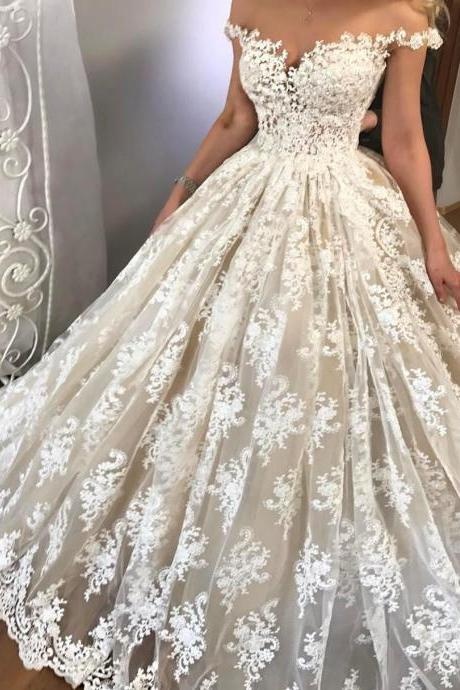 Sexy Wedding Dress 2017 , Off Shoulder Wedding Dress , Ball Gown Wedding Dress , Short Sleeves Bride Dresses , Back Lace Up Bridal Gowns ,Lace Wedding Gowns