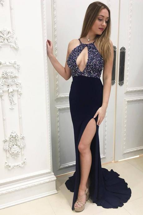 Long Evening Dress 2018 ,Dark Navy Blue Women Formal Gowns , Sexy Side Slit Evening Party Dresses, Stunning Sequins Dress ,Keyhole Neck Beading Gowns