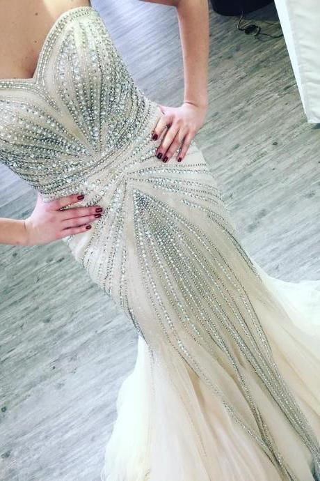 Sparkling Mermaid Evening Dresses 2017 Beading Crystals Sweetheart Evening Party Gowns Long Women Formal Dress Zipper Back Special Occasion Gown