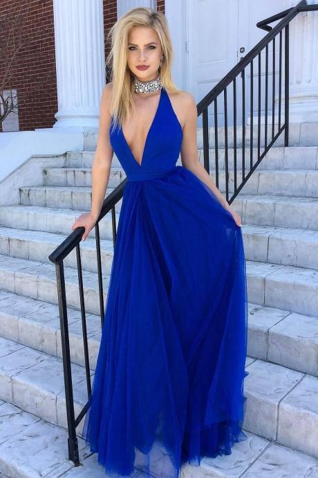 Royal Blue Sexy Party Dresses 2018 Beaded Collar A line Women Dress Cheap Price New Design Party Gowns Simple Prom Dress Long Top Quality