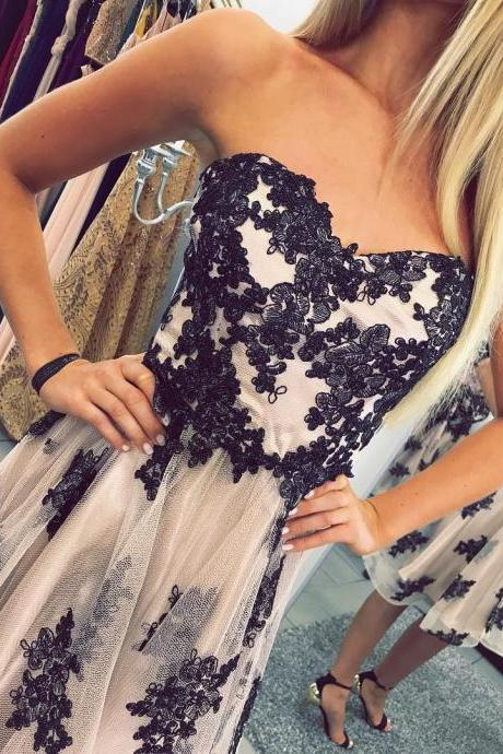 Short Party Dresses 2017 Champagne Tulle Navy Blue Lace Appliques Chic Party Gowns ,Tea Length Prom Dresses 2017 A line Prom Gowns Cheap Price