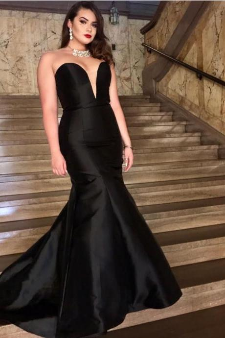 Simple Mermaid Evening Dress 2018 Black Satin Women Formal Dresses Cheap Price Sexy Sweetheart Evening Party Gowns vestidos de festa longo ,Long Party Dresses