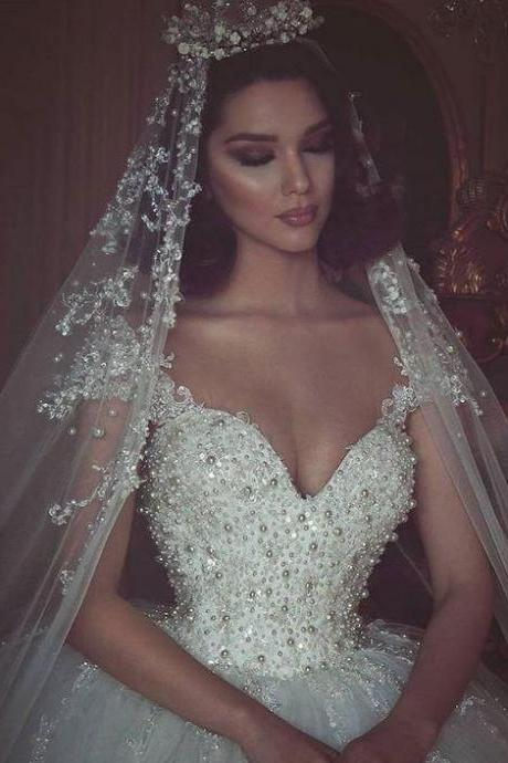 Luxury Pearls Wedding Dress 2017 Ball Gown Wedding Dresses Short Cap Sleeves Sexy Wedding Gowns Puffy Bridal Dresses Sheer Back Bridal Wedding Gown