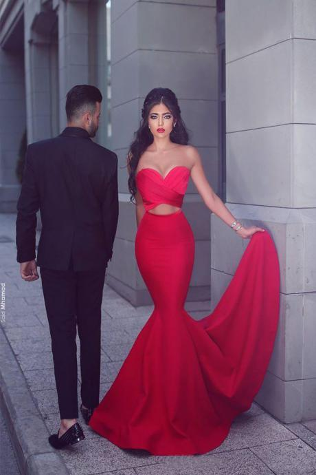 Red Mermaid Evening Dresses 2017 Said Mhamad ,Soft Satin Long Party Dresses , Elegant Sweetheart Evening Party Gowns ,Long Evening Dress for Women ,Formal Dresses