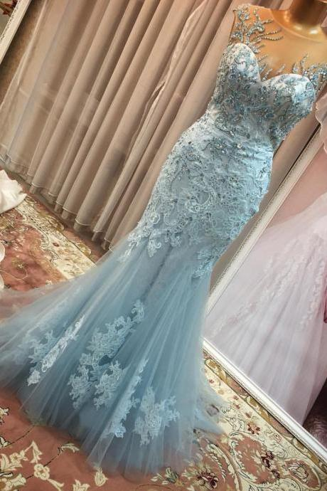 Most Beautiful Mermaid Evening Dresses Long 2017 Sky Blue Tulle Beading Lace Appliques Elegant Women Formal Gowns Sheer Back Evening Party Dress