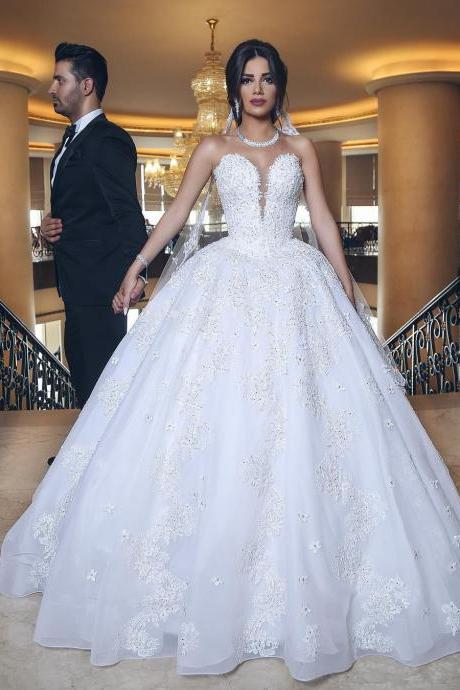 Islamic Wedding Dress 2017 Custom Made Ball Gown Beaded Appliques Tulle Wedding Gowns Sexy Illusion Sweetheart Bridal Dresses Plus Size