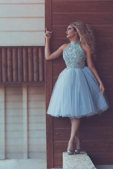 Beading Short Prom Dress 2017 Robe de soiree Sparkly High Neck Party Dress 8 Grade Graduation Dresses Little Ball Gowns Abendkleider ,Luxury Homecoming Dresses