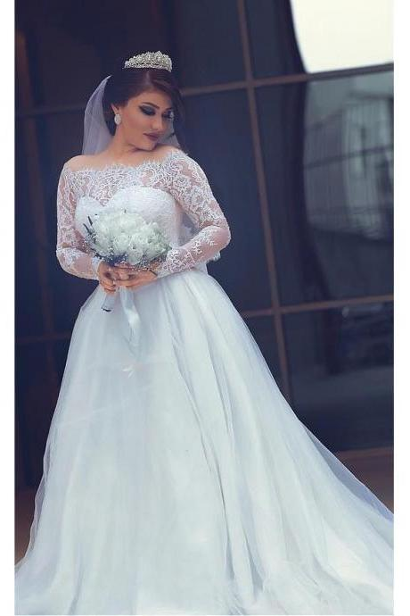 2017 Vintage Wedding Dresses Long Sleeves off Shoulder Princess Lace Appliques Bridal Bride Gowns Ball Gown Wedding Dress robe de mariage