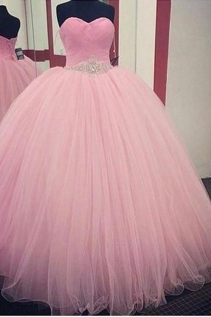 Pretty Pink Ball Gown Prom Dresses 2017 Beading Belt Lace Up Back Off the Shoulder Sweetheart Long Prom Dress High Quality Tulle Vestido de Festa