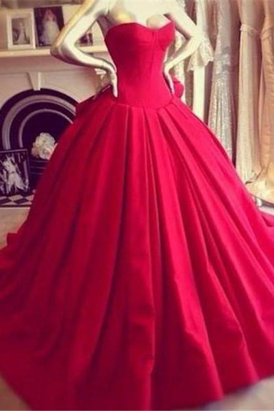 Red Ball Gown Prom Dress with Bow 2018 Off-Shoulder Satin Wedding Party Gowns Puffy Vestido De Formatura Plus Size Prom Dresses