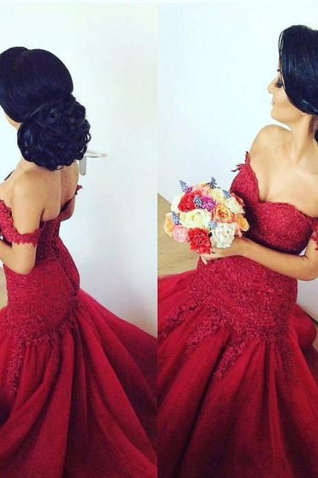 Evening Dress ,Red Mermaid Evening Dress 2017 Sexy Off Shoulder Lace Sleeves Sweetheart Evening Party Gowns Long Back Party Dresses