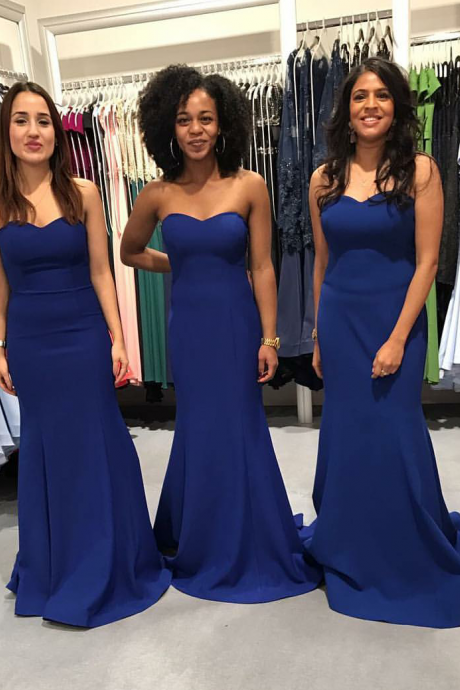 Elegant Royal Blue Mermaid Long Bridesmaid Dresses 2017 Simple Satin Floor Length Formal Dress for Weddings Prom Party Gowns Cheap Price