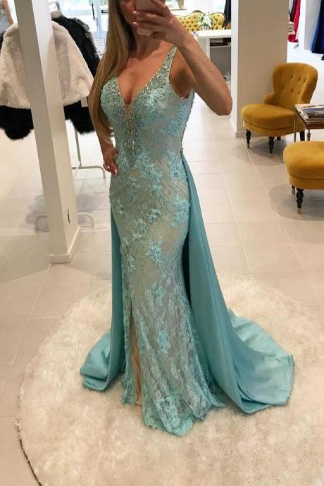 Sexy Lace Evening Dress 2018 Mermaid Beading V Neck Long Women Formal Gowns with Removable Train Elegant Side Slit Evening Party Dresses