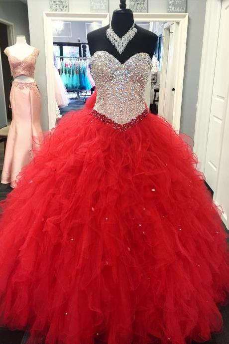 Red Quinceanera Dress 2018 Ball Gown Sweetheart Sweet 15 16 17 Party Gowns Quinceanera Dresses Teens Dancer Dress with Crystals Ruffles Quinceanera Dress Prom Dress