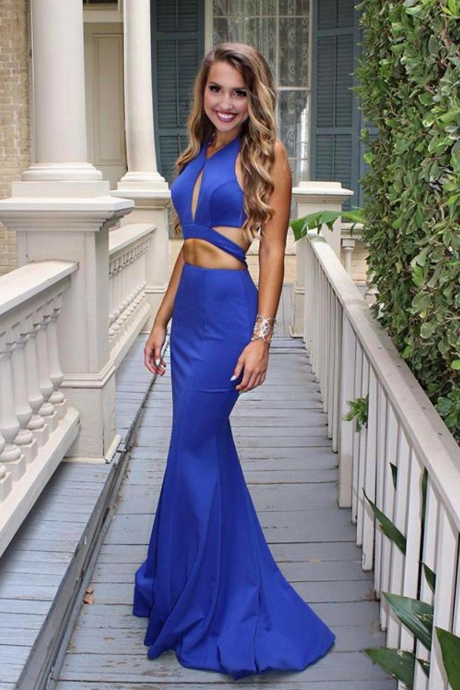 2017 Sexy Royal Blue Mermaid Evening Dress Long Keyhole Neck Backless Party Gowns Vintage Beach Formal Prom Dresses