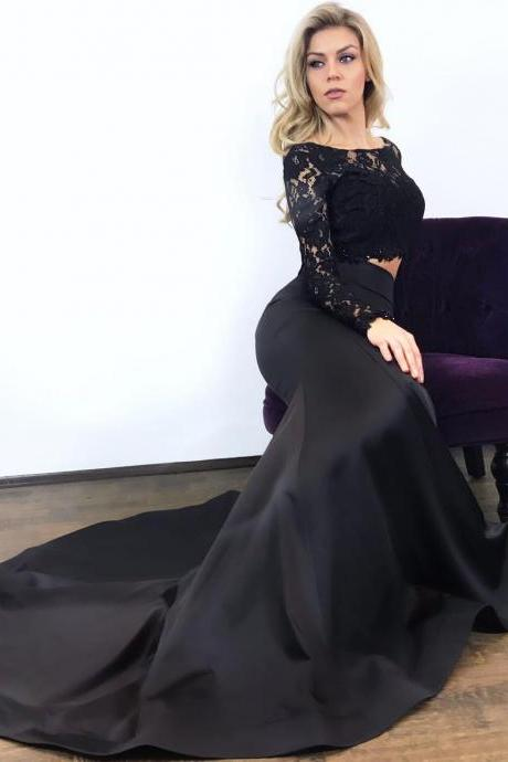Two 2 Pieces Prom Dresses 2017 Black Top Lace Bottom Satin Mermaid Evening Dress with Long Sleeves Formal Party Gowns Closed Back Women Dress