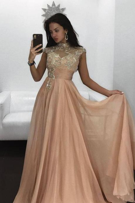 Long Prom Evening Dress 2017 abendkleider Beading Cap Sleeves High Neck Woman Party Gowns A line Chiffon Prom Dresses with Rhinestone robe de soiree