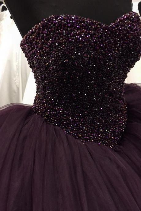 Puffy Prom Dresses 2017 Floor Length Evening Dress Beaded Top Dark Purple Tulle Sweetheart Long Party Ball Gowns Prom Dress High Quality