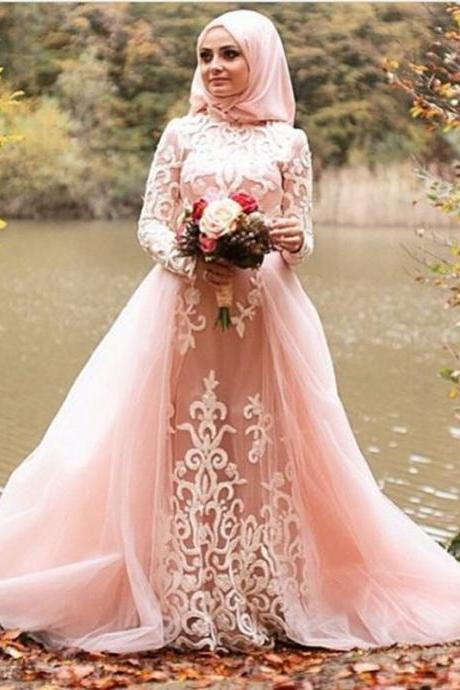 Muslim Evening Dress 2018 vestidos de festa A line Blush Pink Tulle Appliques Women Formal Gowns Long Sleeves Hijab Prom Dresses