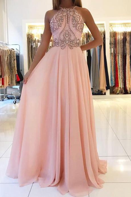 Opening Back Pink Prom Dresses 2017 Stunning Beading Chiffon A line Long Party Gowns Elegant Evening Gowns for Women Fashion Design