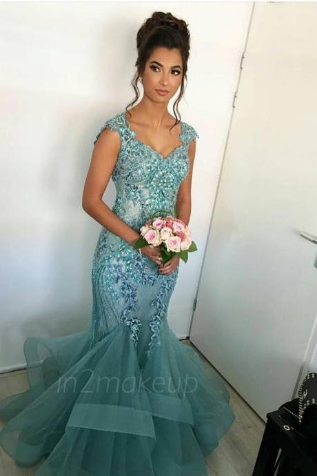 Elegant Evening Dress 2018 Robe De Soiree Lace Appliques Floor Length Formal Prom Party Dresses With Cap Sleeves Mermaid Formal Gowns