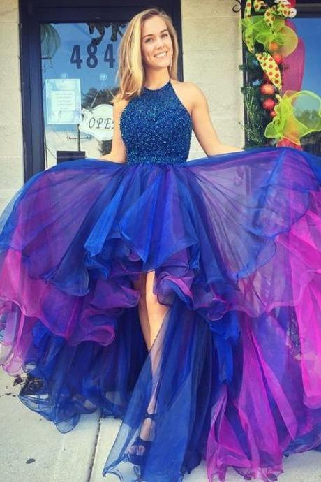 Hot Sale Beaded High Low Prom Dresses Long Homecoming Dress 2018 Sexy Backless Organza Party Colorful Skirt Formal Gowns Imported