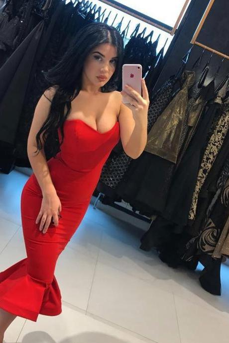 Red Satin Short Mermaid Prom Dresses 2017 Sweetheart Sexy Sheath Party Gowns Tea Length Simple Women Dress Cheap Price