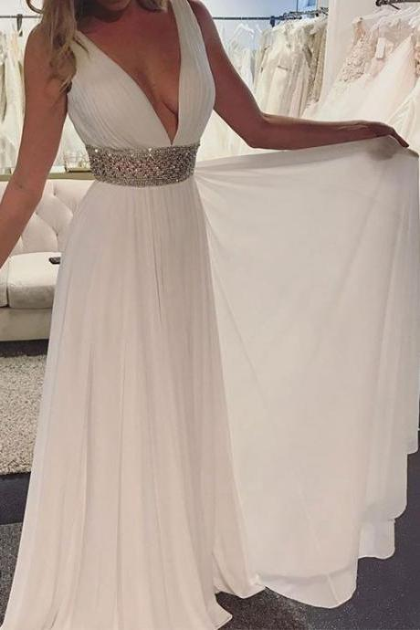 White Chiffon A line Prom Dresses 2017 Sexy Deep V neck Beading Waist Long Party Gowns Elegant Evening Dress vestidos longo
