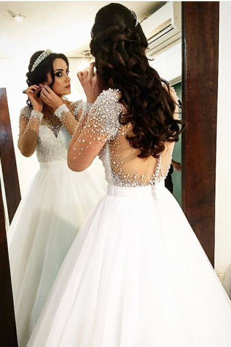 Sheer Back Pearls Puffy Wedding Dress with Long Sleeves