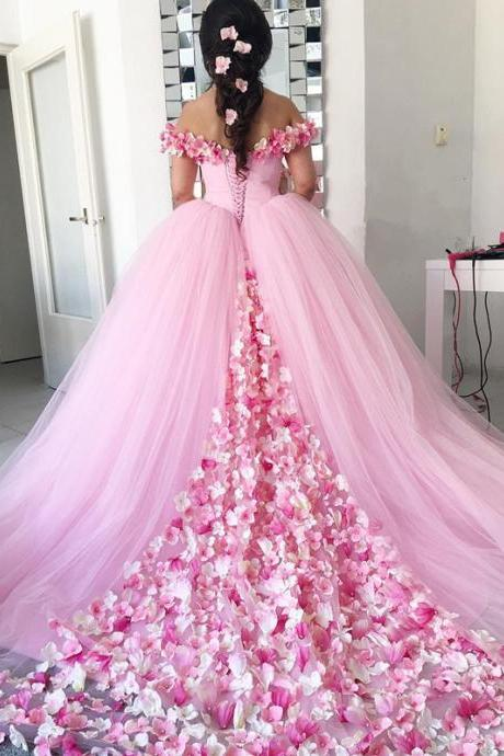 Pink Tulle Off-the-Shoulder Ball Gown Prom Dress with Flowers