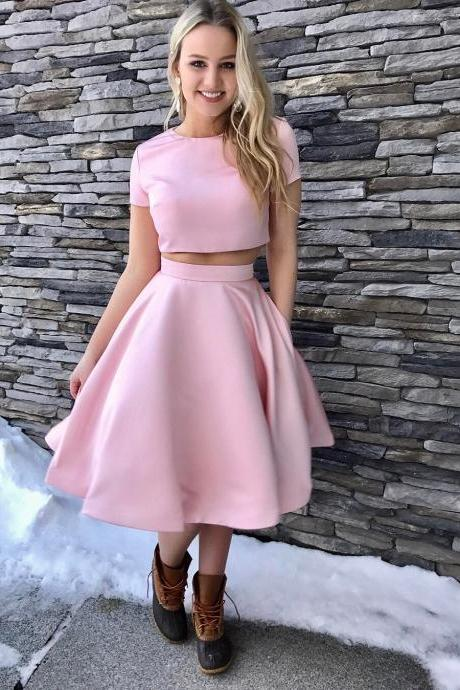 Short Sleeves Two Piece Satin Homecoming Dress with Pockets