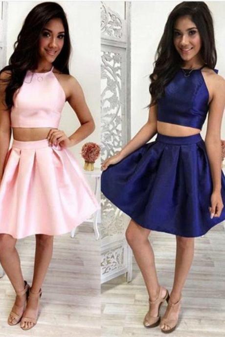 Short Two-Piece Sleeveless Satin Homecoming Dress