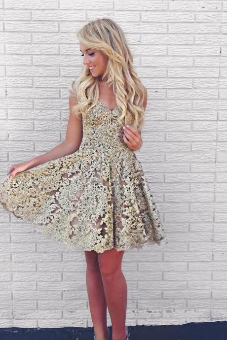 Short Gold Lace Sweetheart Homecoming Dress