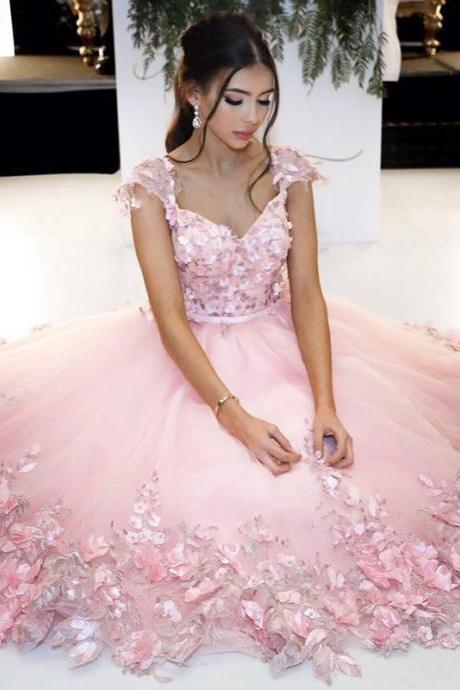 Baby Pink Flowers Prom Dress, V neck Cap Sleeves Cute Floral Gowns