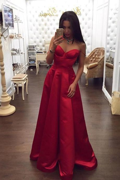 Long Satin Sweetheart Evening Dress ,Simple Spaghetti Straps Formal Gown
