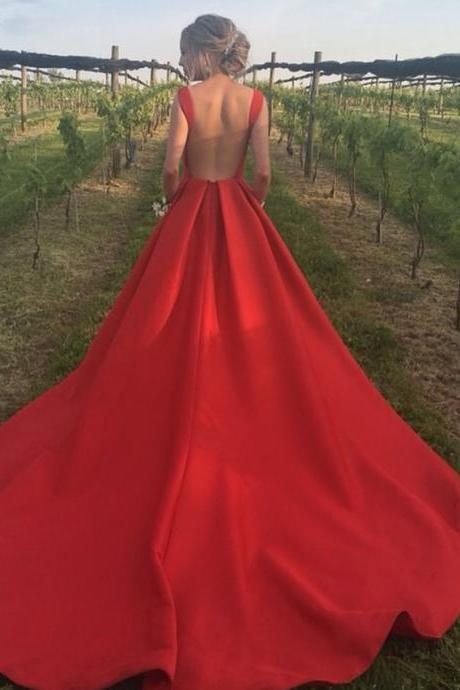 Simple Backless Satin Evening Dress in Red, Royal Train Long Prom Gown
