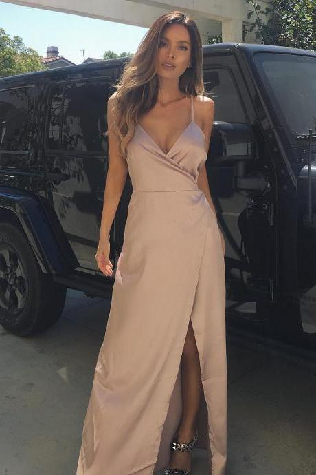 Simple Side Slit Satin Maxi Gown with Spaghetti Straps