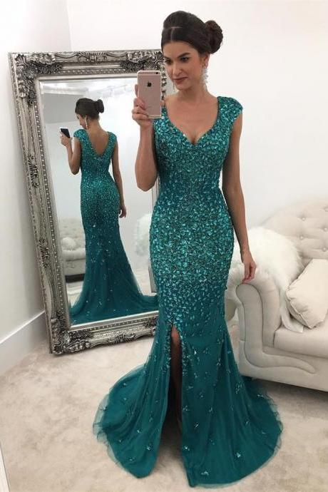 Emerald Green Mermaid Evening Dress Crystal Beaded Prom Gowns