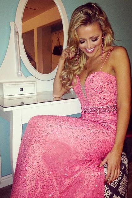 Spaghetti Straps Mermaid Evening Dresses 2018 Sparkly Prom Gowns