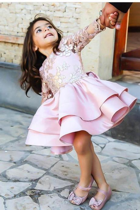 Cute Short Pink Satin Girls Pageant Gowns Tired Skirt First Communication Dresses with Bow