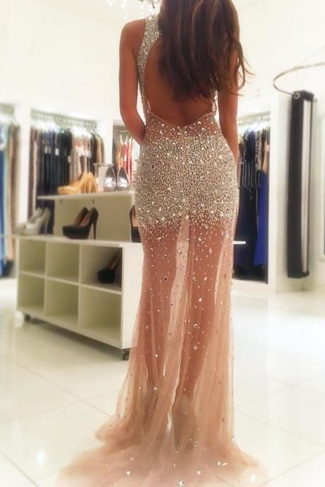 Sexy Backless Crystals Beaded Tulle Mermaid Prom Evening Dresses Long 2019