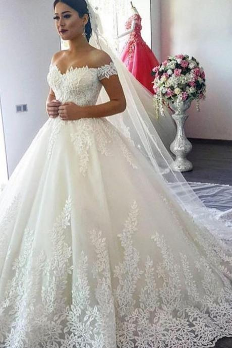 Off Shoulder Lace Bodice Corset Sweetheart Bridal Ball Gowns Wedding Dresses