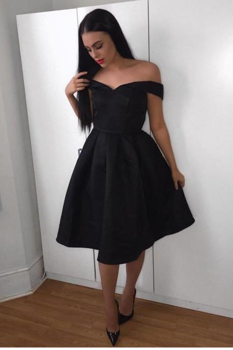 Black Satin Off the Shoulder Midi Bridesmaid Dresses Party Gowns Simple