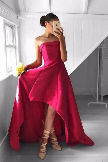 Strapless High Low Satin Long Prom Dresses Party Gowns 2018