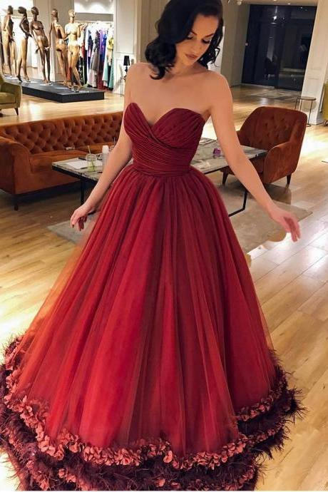 Burgundy Tulle Ruched Sweetheart Prom Ball Gowns Dresses Long 3D Floral Appliques