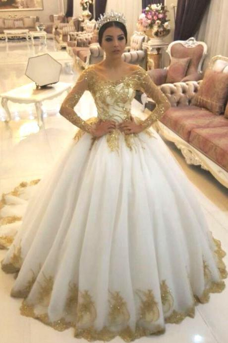 Gold Lace Appliques White Tulle Long Sleeves Bridal Ball Gown Wedding Dresses