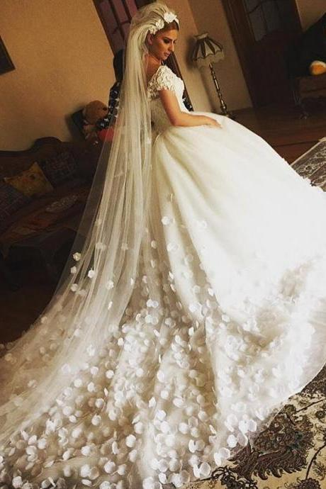 Luxury Lace Bodice Flower Ball Gown Tulle Wedding Dress with Cap Sleeves
